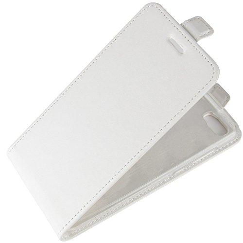 KM-WEN® Schutzhülle für Apple iPhone X (5,8 Zoll) Bookstyle Ledertasche mit Magnetverschluss PU Leder Wallet Case Flip Cover Hülle Tasche Schutzhülle mit Standfunktion Kartenfächer für Apple iPhone X  Up-Down Offen Weiß