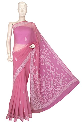 Ada Women's Handmade Lucknow Chikankari Faux Georgette Saree With Blouse Piece (A191641_Onion...