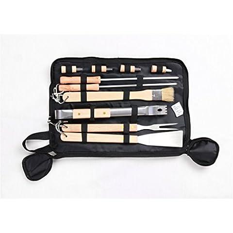 Joyeee® Posate per barbecue in acciaio INOX, 10