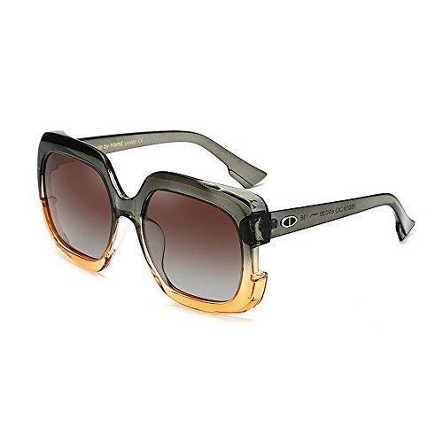 Yiph-Sunglass Sonnenbrillen Mode Damensonnenbrillen Stilvolle Große für Frauen Quadrat Farbverlauf Rahmen Sonnenbrillen UV-Schutz Umrandete Klassische Dame für das Fahren von Reisen (Farbe : Grün)