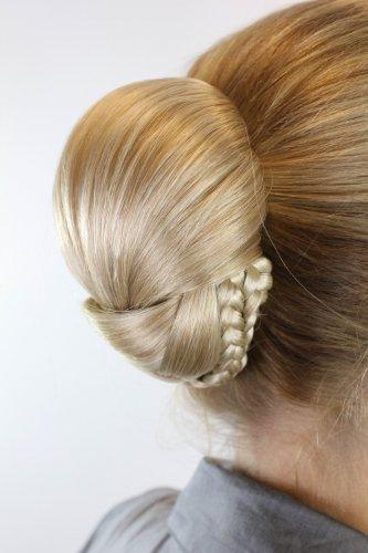 Haarteil: aufwendig geflochter Zopf Dutt Haarknoten Braid Tracht Traditionell Blondmix 907-24B613 -
