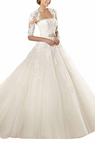 GEORGE BRIDE Elegant Traegerlos Prinzessin Tuell Spitze Mit Bolero Hof-Schleppe Lang Brautkleider Hochzeitskleider, Groesse 42, Elfenbein