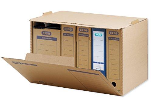 ELBA 100421093 Systemcontainer tric system 5 Stück mit Frontklappe zur Archivierung Ordnern stapelbar in der Höhe arretierbar naturbraun Archivschachtel Archivbox -