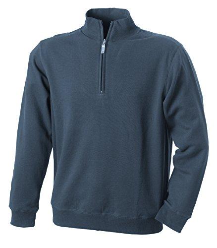 James & Nicholson Herren Round-Neck Zip Sweatshirt Grau (Carbon)