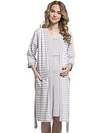 14c306421 Zeta Ville - Premamá camisón set bata embarazo lactancia de rayas ...