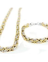 collar y pulseras de acero inoxidable de oro y plata sistemas de la joyería de los hombres de la moda