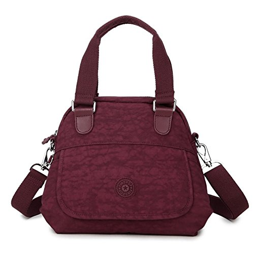 Lady Staubbeutel Leinwandbild Damen Tasche Tragbar Messenger Bag Shell Bag Fashion Casual Nylon Bag 26* 23* 8cm Wein Rot