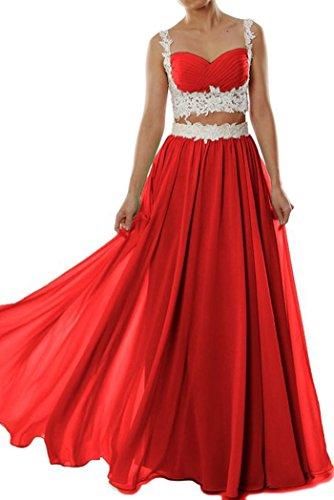 Bridal_Mall Damen Straps 2 Stück Chiffon Abendkleid Abendkleider Fußbodenlänge Red