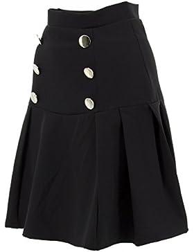de color negro mini falda botones de eco cuero de las mujeres avellanado nuevos atractivos de la alta vida