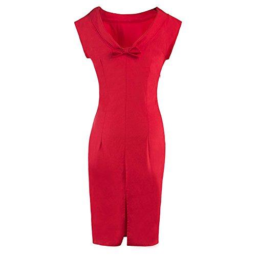 DaBag Europäischen Frühling Reine Farbe Geschlitztes Kleid fest Taille Paket Hüfte Wickelkleid Bleistiftrock (L, (Kurven Und Kostüme Hüften)