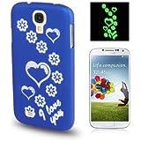 Rocina Gravur Case in blau Schutzhülle für Samsung i9500 Galaxy S4 Herzen leuchten im Dunkeln