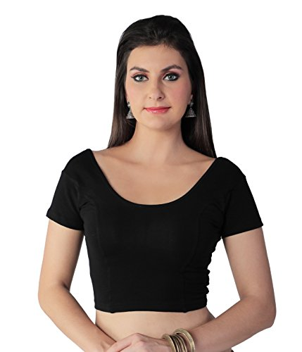 STUDIO SHRINGAAR TRENDY COTTON STRETCH LYCRA ROUND NECK READY TO WEAR SAREE BLOUSE WITH SHORT SLEEVES (38, BLACK)  available at amazon for Rs.399