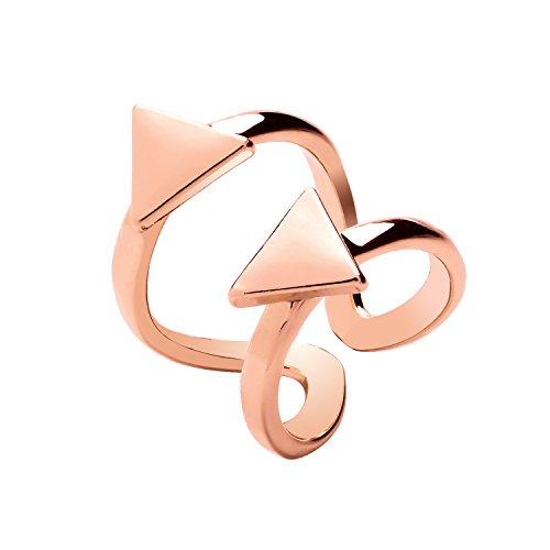 Front Row anillo mujer color de oro rosa diseño triángulo doble -...
