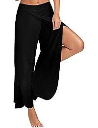 af11c5a49802e StyleDome Femme Pantalon Jambe Large Fendue Grande Taille Elastiquée  Palazzos Yoga Jupe Culotte