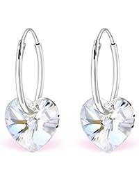 La Crystale pendientes de aro cristal Swarovski® Corazón Plata 925