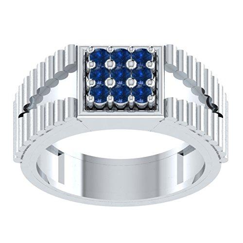 0,22Karat Brillantschliff rund blau Saphir Verlobungsring Hochzeit Band Ring in 925Silber