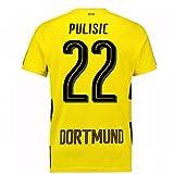 2017-18 Borussia Dortmund Home Short Sleeve Football Soccer T-Shirt Trikot (Kids) (Christian Pulisic 22)