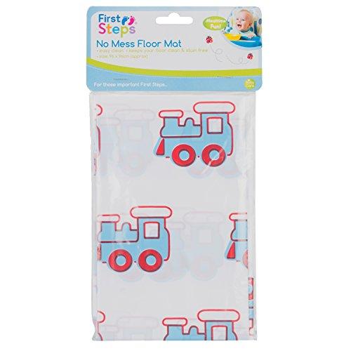 First Steps Tapis de sol facile à nettoyer pour jeu de bébé - 96 x 96 cm - Motif de trains