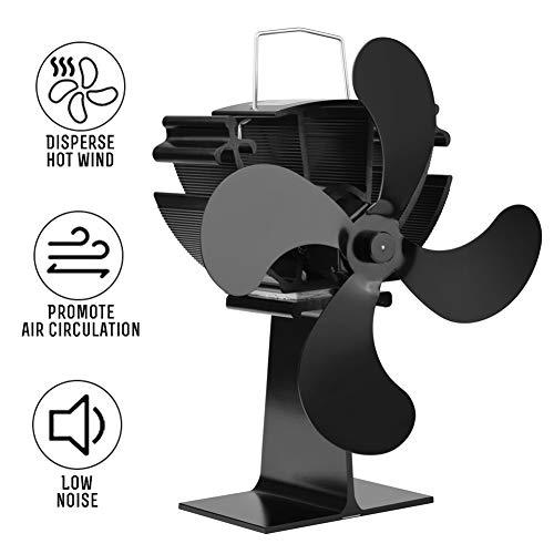 ZDYLM-Y Ventilador para Estufa de Leña con termómetro magnético, silencioso Eco Amable y eficiente Chimenea Ventilador, para la Madera del...