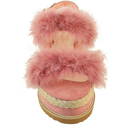 Espadrilles compensées - plateforme plate - fausse fourrure - été - femme Faux suède rose pastel/fourrure