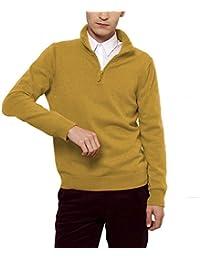 Parisbonbon Men's 100% Cashmere Half-Zip Sweater