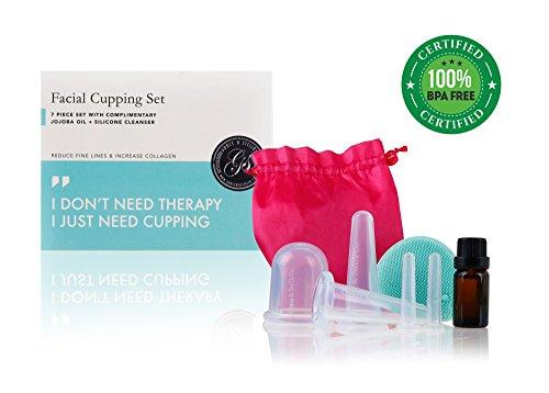 Schröpf-Massage für das Gesicht (7-teiliges Set) | Erhöht die Collagenproduktion & Reduziert Falten | Verbessert Durchblutung & Hautton | BONUS Reinigungsbürste & Massage-Öl | Anti Aging Anti-Falten -