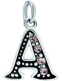 UniqueenJewellery - Espaciador de perlas, diseño letras de alfabeto A-Z para pulsera o collar Pandora, color rosa