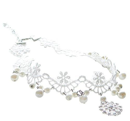 Da.Wa 1 Stück Nachgemachte Perle Brauthalskette Spitze Falsche Kragen Tröpfchen Schlüsselbein...