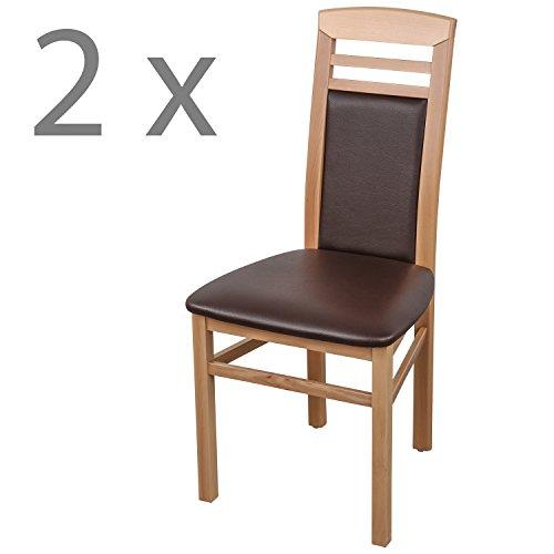 Schwarzwald Massivholz Esszimmerstuhl ST44 Arno Qualitätsstuhl belastbar bis 150 kg (2 Stühle, Buche Naturlackiert/Braun)