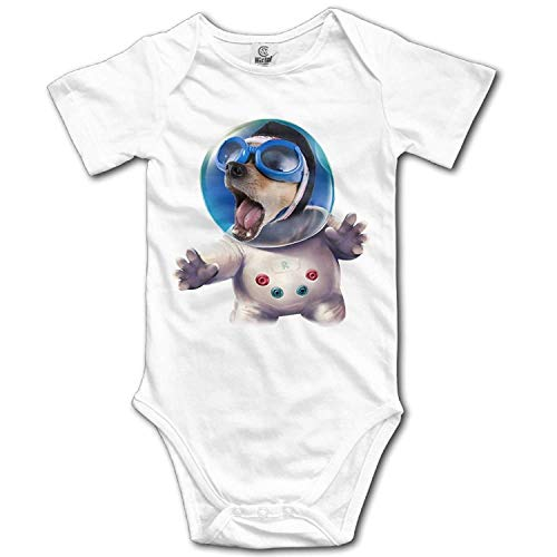 TKMSH Unisex Baby's Climbing Clothes Set Outer Space Dog Bodysuits Romper Short Sleeved Light Onesies for 0-24 ()