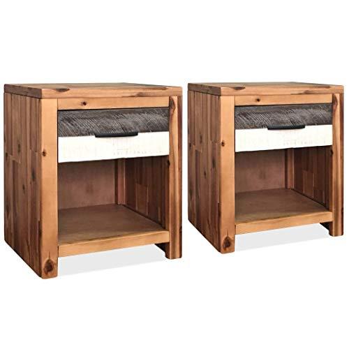 Festnight 2 STK. Nachttisch Nachtschrank Akazien-Massivholz Schlafzimmer Holztisch Beistelltisch 40 x 30 x 48 cm