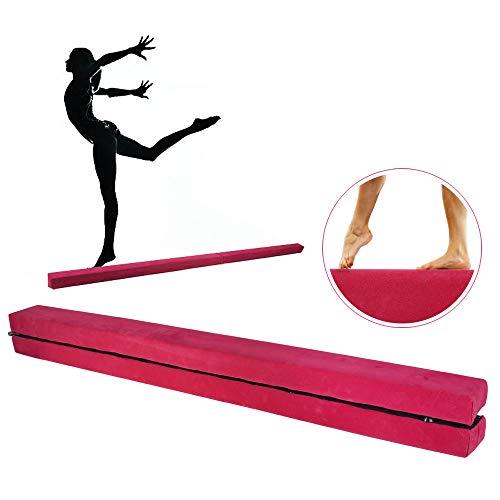 JNCH Trave Equilibrio da Ginnastica Artistica Pieghevole per Casa Copertura Flanella per Allenamento Palestra Ginnastica 220x10x5,2cm Beam Equilibrio Rosa