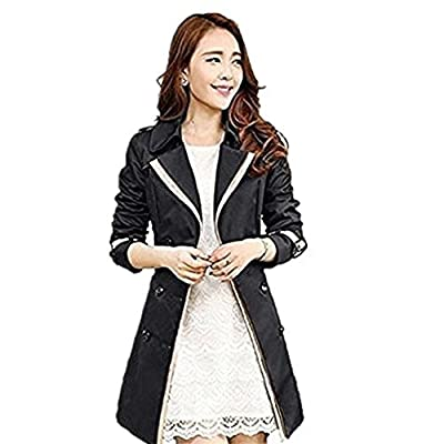 Zicac New Women's Girls' Spring Summer Classical Splicing Contrast Color Long Sleeve Double Breasted Military Style Slim Fitted Wind Coat Jacket Trench Coat Outerwear With Belt
