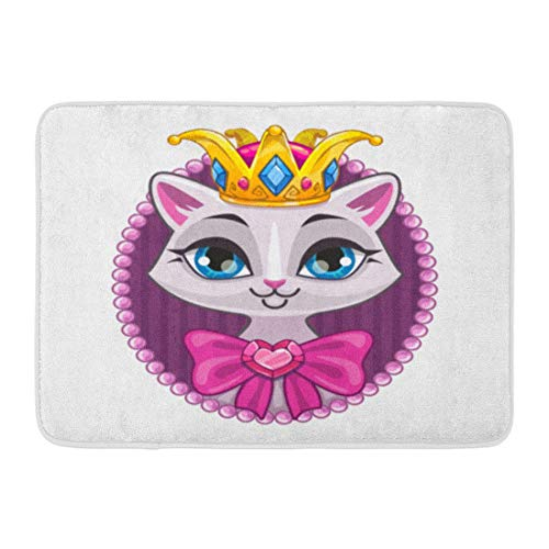 Soefipok Zerbini Tappeti da Bagno Outdoor/Indoor Zerbino Rosa Hello Cute Beautiful Princess Kitty Portrait per Adolescenti White Cat Girl Sweet Girlish Cartoon Bagno Decor Tappeto Tappetino da Bagno