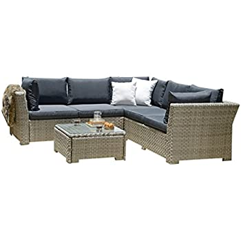 BackYard Furniture 5 Seater Luxury Rattan Garden Lounge Set with Cushions
