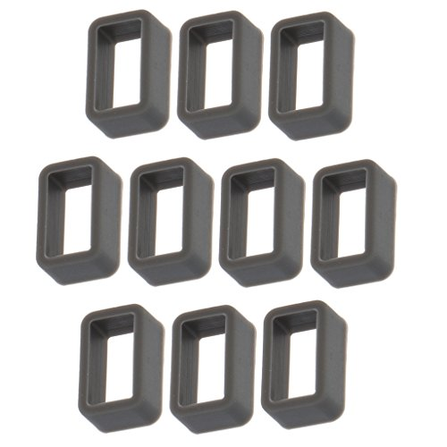MagiDeal 10 Stücke Gummi Uhrenarmband 12mm Schlaufe Schnalle Halter für Uhrenarmbänder - Dunkelgrau - 12mm Gummi Uhrenarmband
