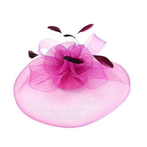 Frcolor Englon Mode Femme Style Maille Chapeau haut-de-forme Headwear Bandeau avec pince à cheveux fête Headwear (Rose rouge)