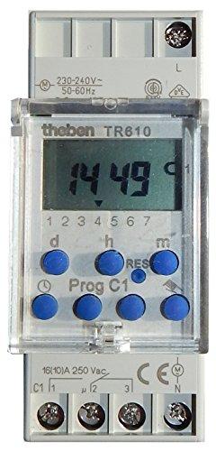 Preisvergleich Produktbild Theben TR 610 S digitale Zeitschaltuhr / Wochenzeitschaltuhr für DIN Wechsler Hutschienenmontage mit deutscher Bedienungsanleitung