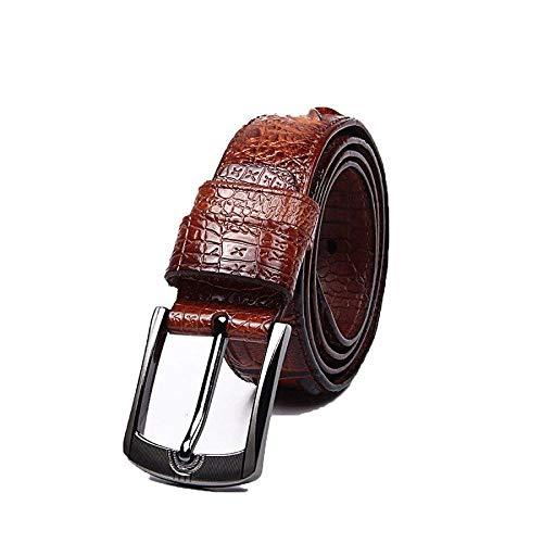 Battercake Cinturón De Cocodrilo Pu De Los Hombres Casual Moda Pin De Hebilla Cómodo De Cuero Cinturón Cinturón Cinturón 110Cm (Color : Brown, Size : 110cm)