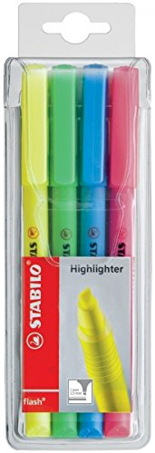 Textmarker Stabilo flash 1+3,5mm, Etui/4ST sort.