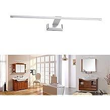 (Promoción)FVTLED 9W 48 LED 2835 SMD Lámpara de Pared para Baño Espejo Aplique Luz Acero Inoxidable (Blanco)