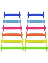trmant 12pcs multifunción impermeable silicona elástica no tie cordones estilo de Deportes al aire libre para los niños, Multicolor