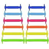 Lot de 12lacets pour chaussures d'enfants - Trmant - Multifonction, étanches et élastiques, en silicone, sans nœud, multicolore