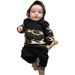 Ropa de bebé, RETUROM Camuflaje Bebé Niños Sombreros con Capucha + Pantalones Largos Set Ropa (6M, ejercito verde)