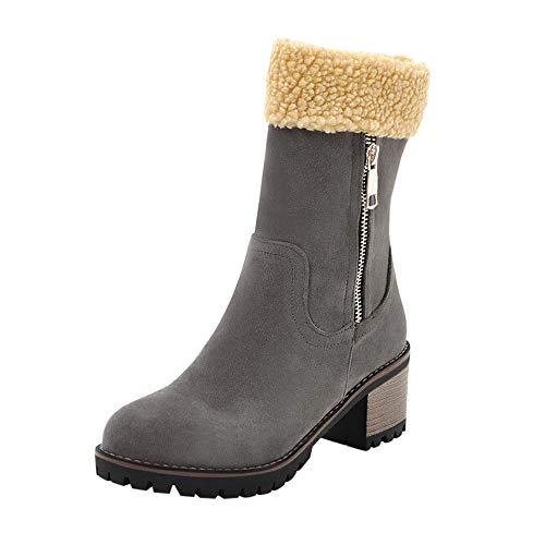 MYMYG Frauen Stiefeletten Damen Winterschuhe Flock Warme Stiefel Snow Boots Short Bootie Stiefel Wildleder mit Halbhohe Blockabsatz Halbschaft Lang ()