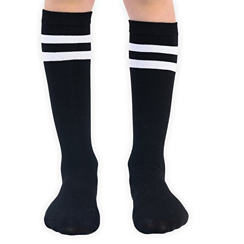 Boys-Two-Stripes-Knee-High-Athletic-Football-Socks-1-or-2-Pairs-in-Black-or-White-Available-for-Ages-5-9