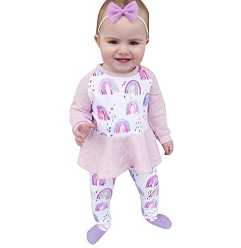 Bekleidung Longra Kleinkind Baby Kinder Mädchen Outfits Kleidung Regenbogen Print Langarmshirts Tops + Lange Hosen Set Kindermode Kinderkleidung (1-5Jahre) (80CM 1Jahre, Pink)