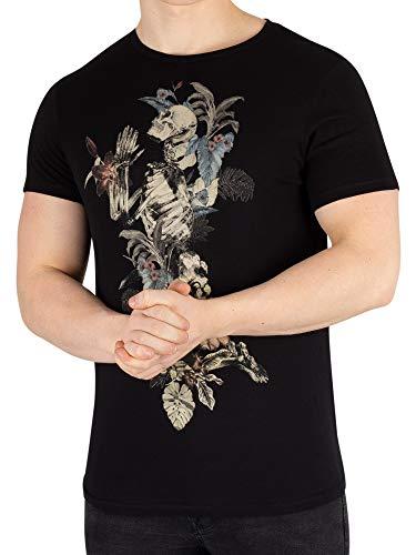 Religion Herren Blumen-Skeleton T-Shirt des Handabgehobenen betrages, Schwarz, Medium