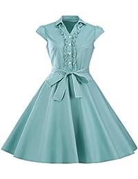 ZAMME Vestido vintage de la vendimia Vestido retro del rockabilly de los años 50 retro del