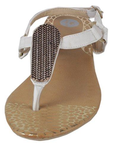 Slanna - edle Sandale mit goldenen Metall-Applikationen Zehentrenner LederOptik Damen Sommer Schuhe 36 37 38 39 40 41 Goldene Platte - Weiß
